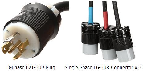 L21 30P to 3 x L6 30 Spec splitter power cord l21 30p to l6 30r (x3), 30a, 120 208v